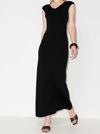 cap sleeve knit maxi dress
