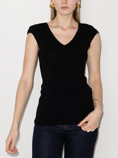 cap sleeve knit T-shirt