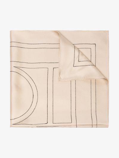 cream monogram print silk scarf