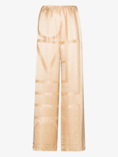 monogram wide leg silk trousers
