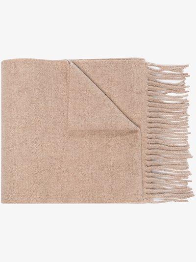 Neutral long wool scarf