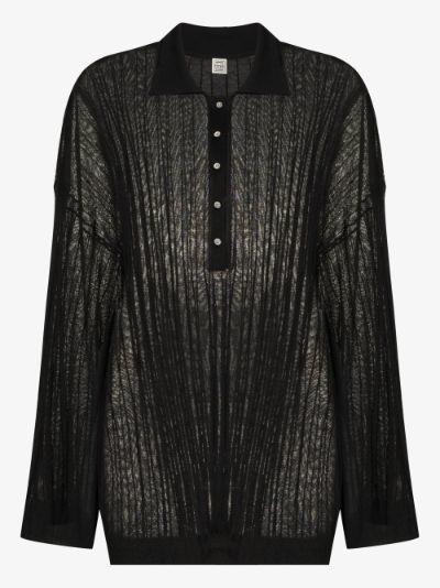 Ribbed Knit Polo Shirt