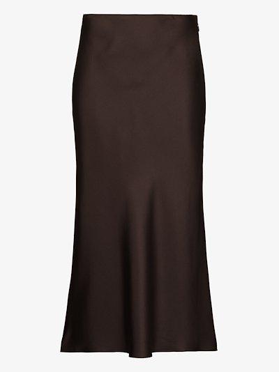silk midi slip skirt