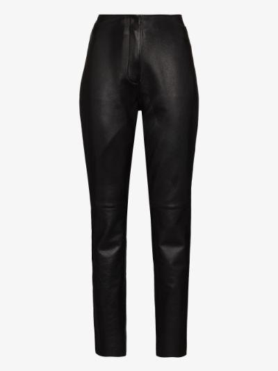 slim leg leather trousers