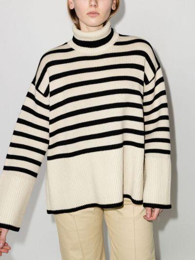 striped roll neck jumper