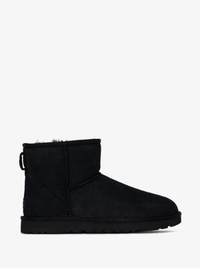 black Classic Mini II Shearling Ankle Boots
