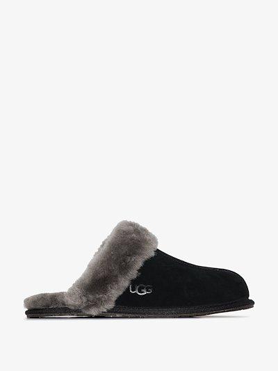black Scuffette shearling suede slippers