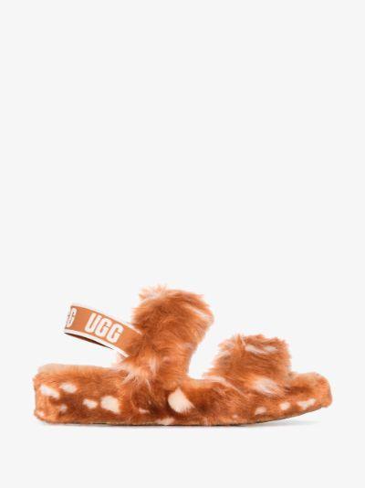 orange Oh Yeah Spots shearling slippers