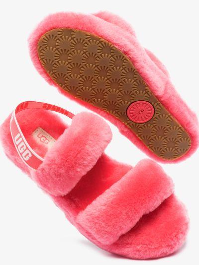 Pink Oh Yeah logo flatform sandals
