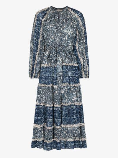 Anzu marble print midi dress
