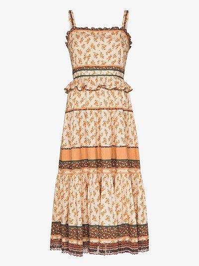 Cecilie printed cotton midi dress
