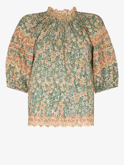 Lorna floral print cotton blouse
