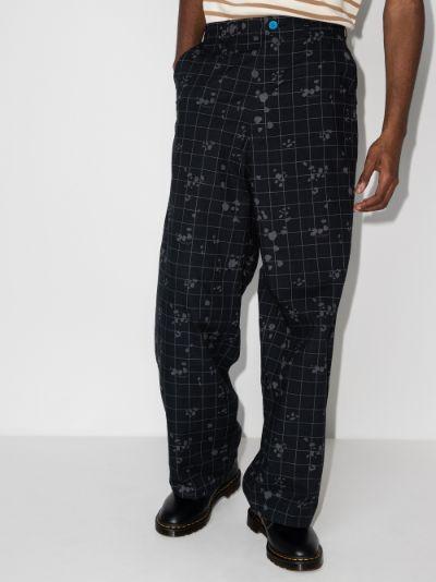 Check printed loose leg trousers