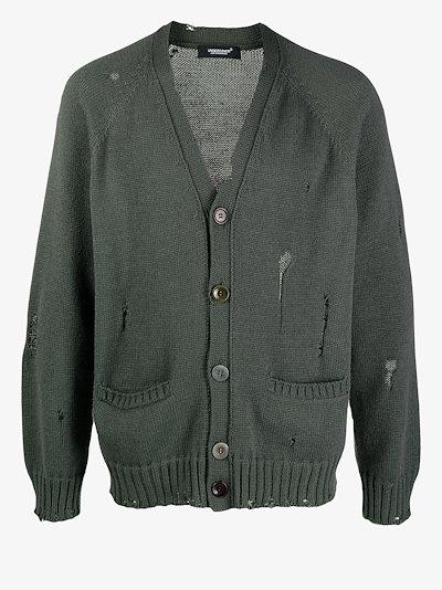Distressed Fine Knit Cardigan