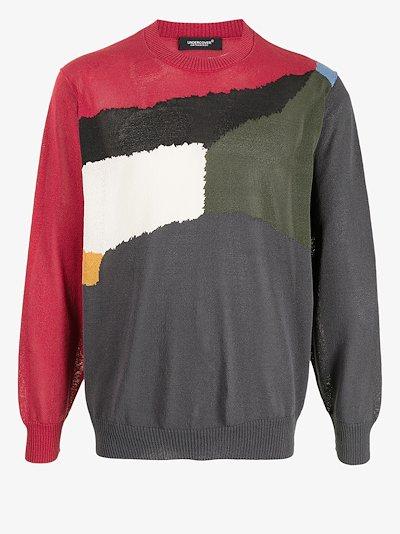 intarsia knit crewneck jumper