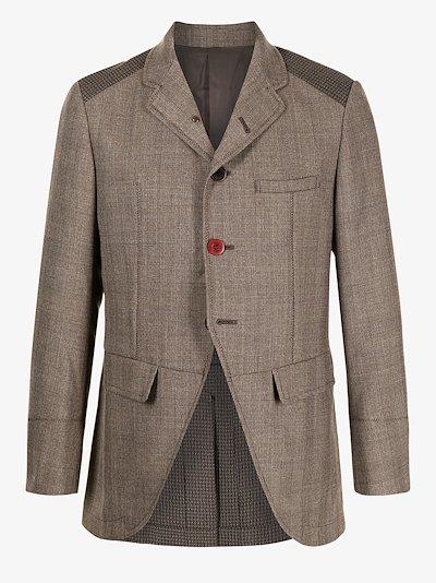 panelled check wool blazer