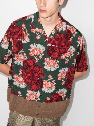 panelled Floral Print Shirt