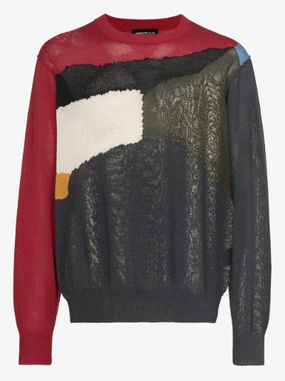 patchwork crew neck sweater
