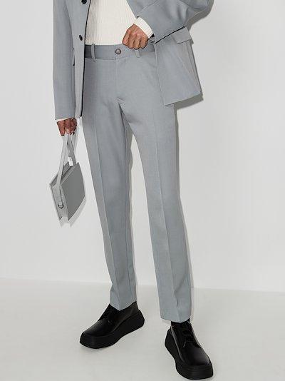 straight virgin wool suit trousers