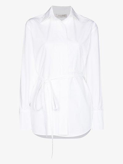 Belted button-up shirt