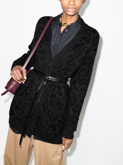 belted leopard knit cardigan