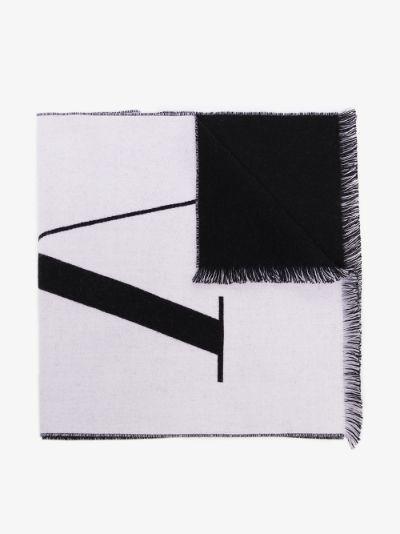 Black and white VLTN logo wool scarf