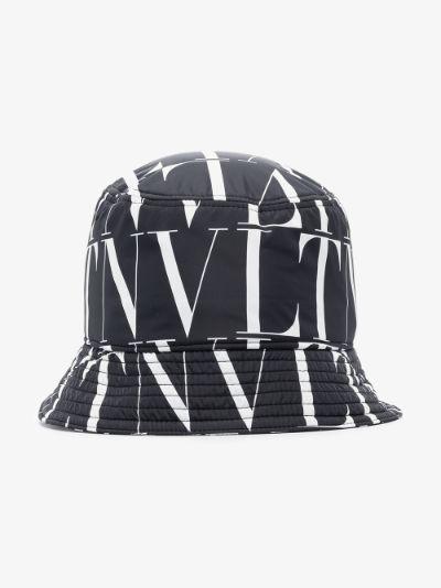 black VLTN logo print bucket hat