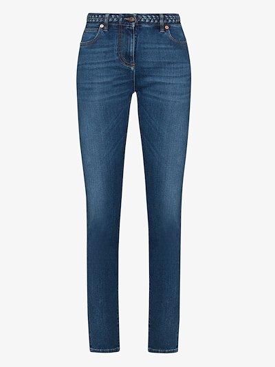 braided waistband skinny jeans