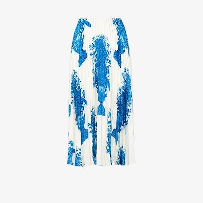 ceramic print pleated midi skirt