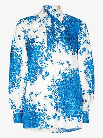ceramic print silk blouse