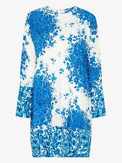 ceramic print silk shift dress