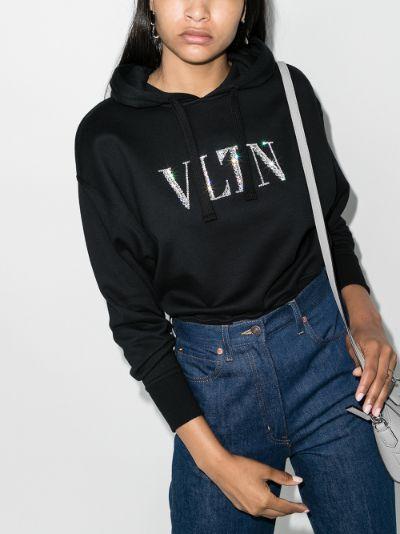 embellished VLTN Logo Cotton Hoodie