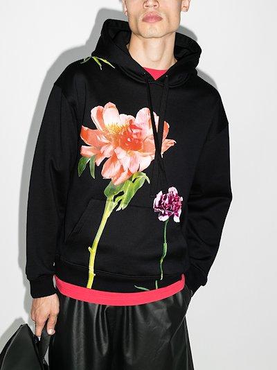flower print cotton hoodie