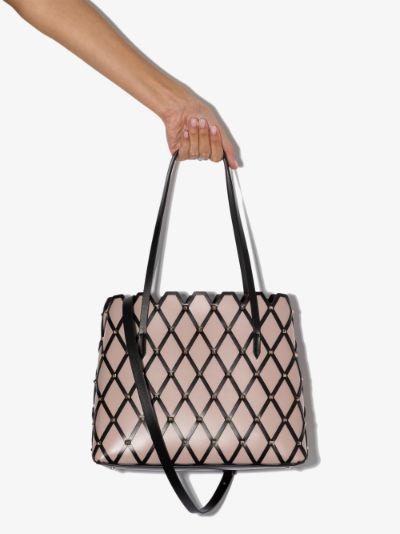 Beige Beehive leather tote bag