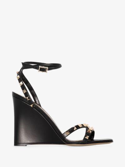 black 100 Rockstud leather wedge sandals