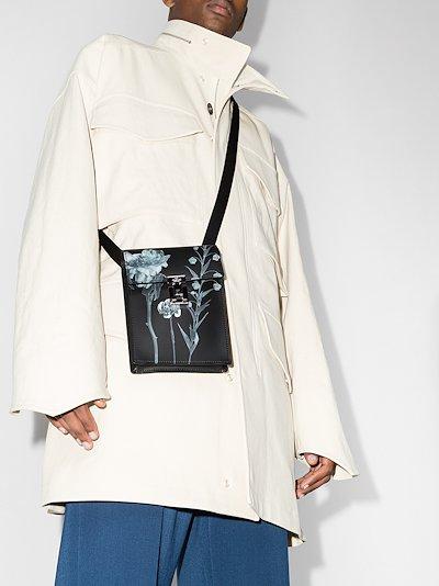 black Flowersity leather cross body bag