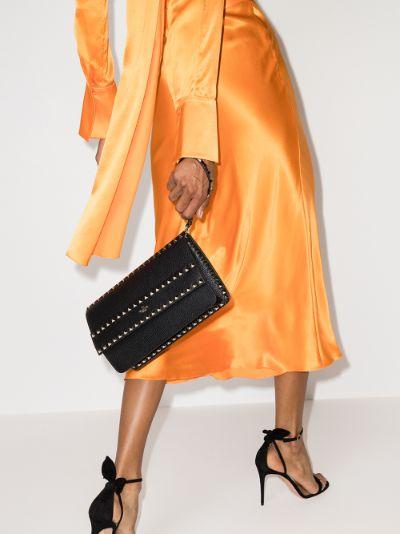 Black Garavani Rockstud Leather Clutch Bag