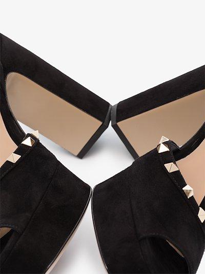 black Rockstud 125 suede platform sandals