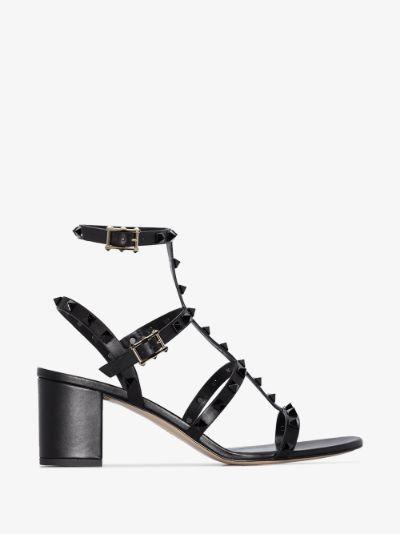 black Rockstud 60 leather sandals