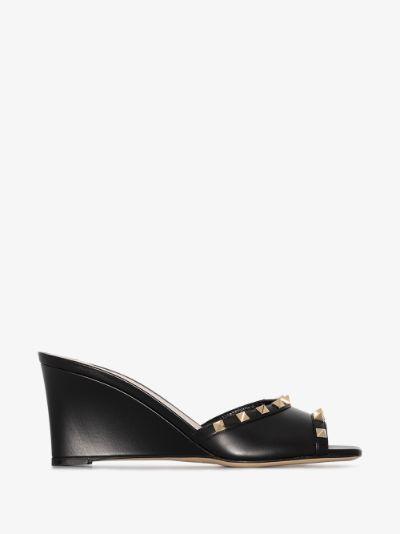 black Rockstud 70 Leather Wedge Sandals