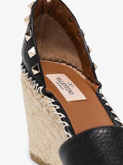 black Rockstud 85 leather wedge espadrilles
