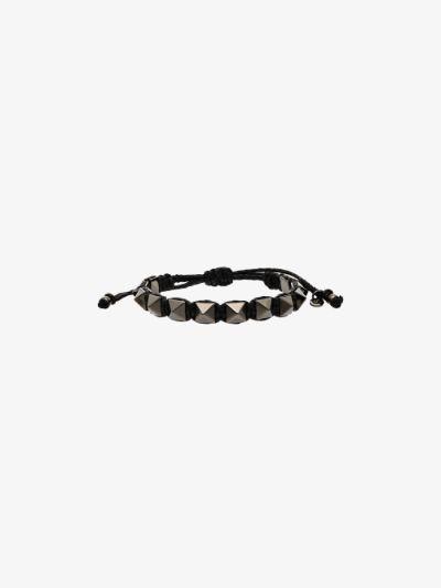 black Rockstud leather bracelet
