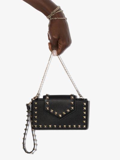 black Rockstud leather clutch bag