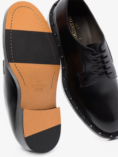 black Rockstud leather Derby shoes