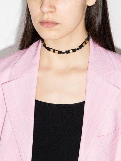 black Rockstud leather necklace