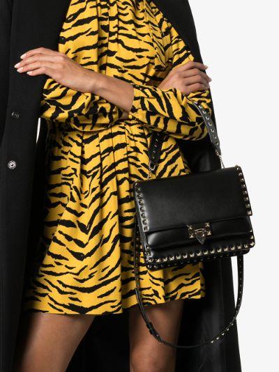 Black Rockstud leather shoulder bag