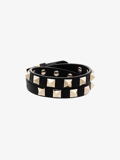black Rockstud leather wrap bracelet