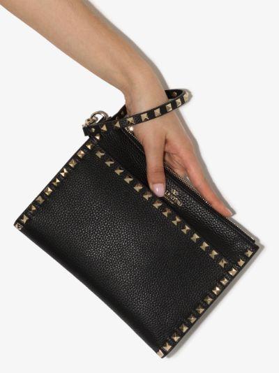 black Rockstud medium leather clutch bag