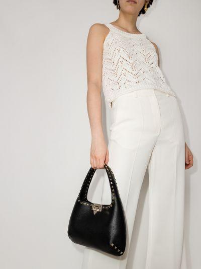 Black Rockstud Small Leather Tote Bag