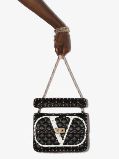 Black Rockstud Spike Leather Shoulder Bag
